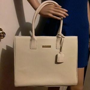 Joy & Iman cream colored 100% split leather bag